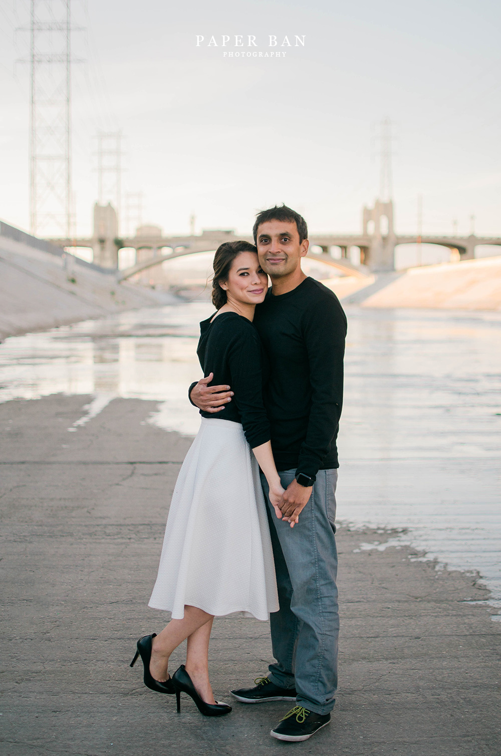 Los Angeles River Downtown Engagement Photography